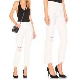 Mother Off White Distressed Raw Hem Skinny Jeans